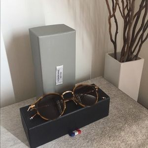 Authentic Thom Browne 12kt gold walnut sunglasses